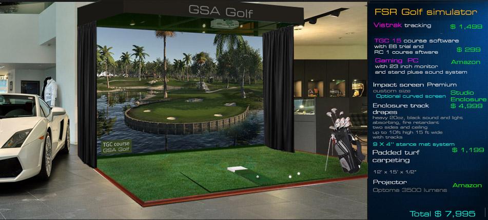 Gsa advanced golf simulators fx series for Golf simulator room dimensions